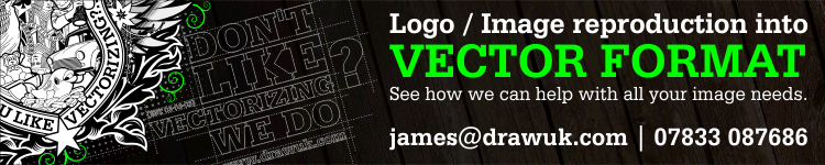Draw UK Banner, offering a vectorising services
