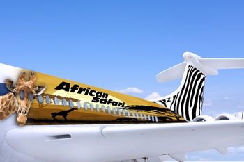 aeroplane covered in graphic film