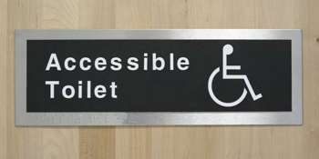 Text, Braille and symbol toilet sign