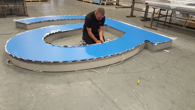 "An up-close look at a 5m letter ""A"" being manufactured for DNATA."