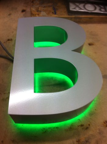 A single built up letter created by Impact 3D Signs
