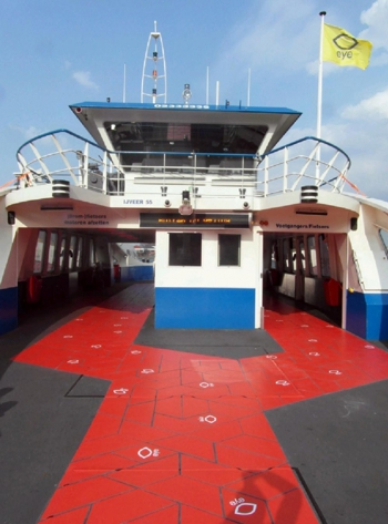 Graphics on boat deck with ASLAN DFP46MP300