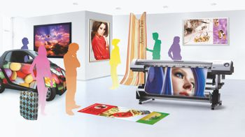 Roland DG promotional image promoting their new dye sublimation solution for its VersaArt series.