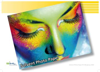 A printed sheet of 3454 PE 240 digitally printable solvent paper