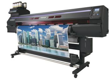 The Mimakis UCJV300 printer printing a picture of a city