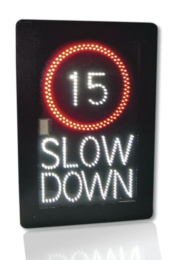 a digital slow down sign with the number 15 on it