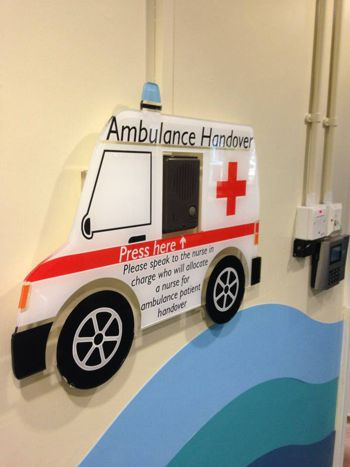 This hospital has been cut in the shape of an ambulance, and hung with high bonded tape so there are no visible fixture or fittings