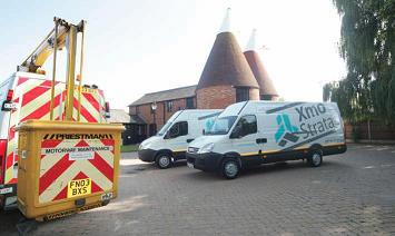 Equipment and vans at the ready.