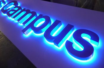 Blue and white halo illuminated letters by LED Solutions