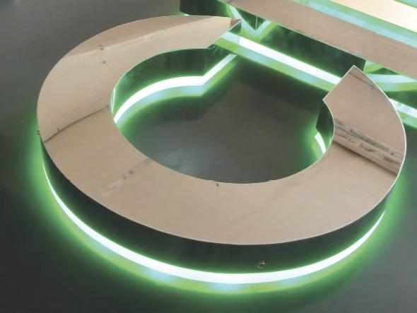 raised built up letter, with a halo created by Agilight's Thin Rayz LEDs