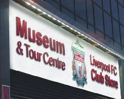 A lit sign for the Liverpool FC Club Store