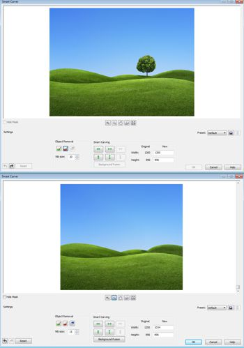 CorelDraw Smart Carver screen shots.