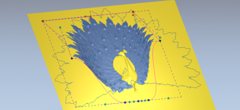 Using the latest version, ArtCAM Pro 2013, the new Interactive Relief Modelling was used to stretch and bend the feathers in real-time.