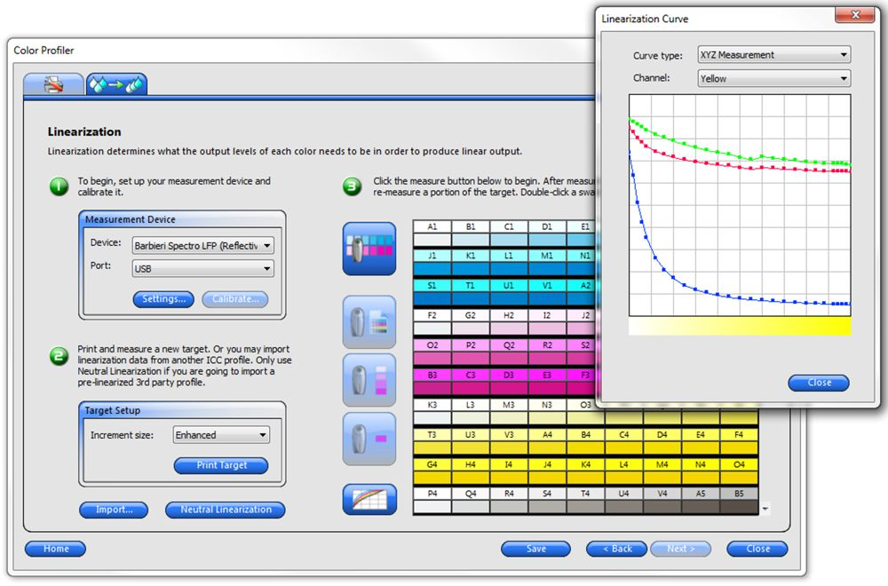 Screens from the SAi software showing colour management