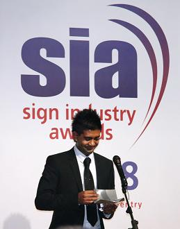 Man talking at the Sign Industry Awards 2008.