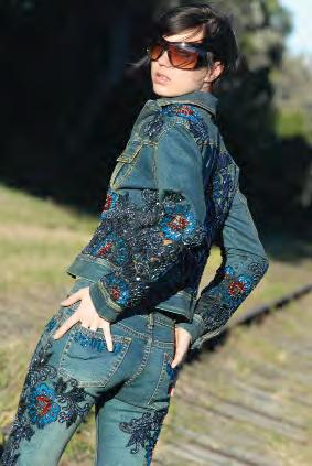Lady modelling denim clothes.