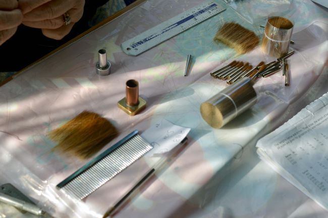Some of the tools used in brushmaking