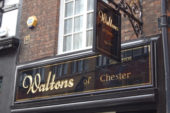 Waltons of Chester goldleaf sign