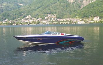 Vinyl wrapped speedboat