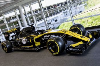 Renault F1 Racecar made with Roland graphics on display