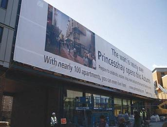 Signs Express (Exeter) showing their large format banners at Princesshay Shopping Centre