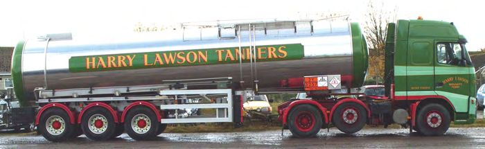A tanker with 'Harry Lawson' written on the side.