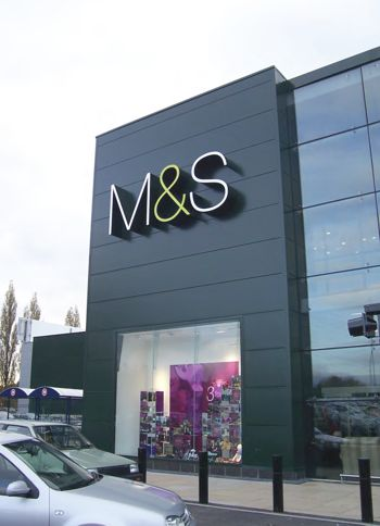 Marks and Spencers sign on the outside of their building