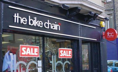 The shop-front of 'the bike chain'