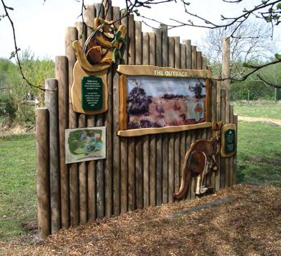 This display was carefully designed to fit in perfectly with The Outback theme.