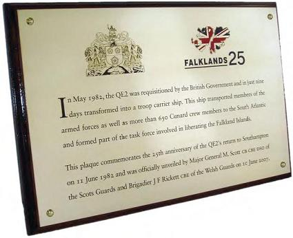 EtchFAST Falklands Plaque commemorating the 25th anniversary of the QE2's return to southampton in 1982.