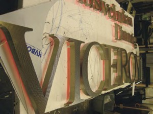 Lettering for The Viceroy in the workshop.