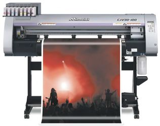 Mimaki CJV30 Series integrated solvent printer cutter.
