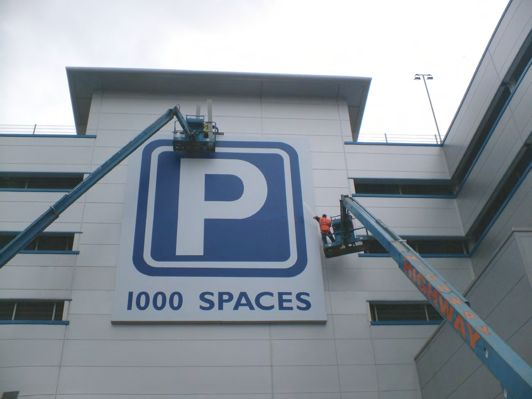 Large Flexface sign - at least 3 storey's high
