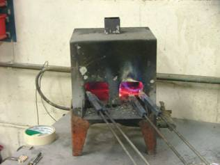 Soldering Irons in a furnace