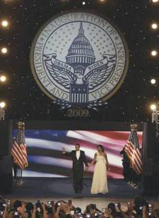 16 foot diameter Presidential Inaugural Seal for the Neighborhood Ball with the president and wife standing in front.
