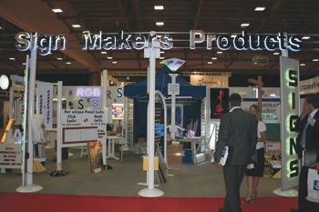An assortment of led displays on SMP's stand at the Sign Show.