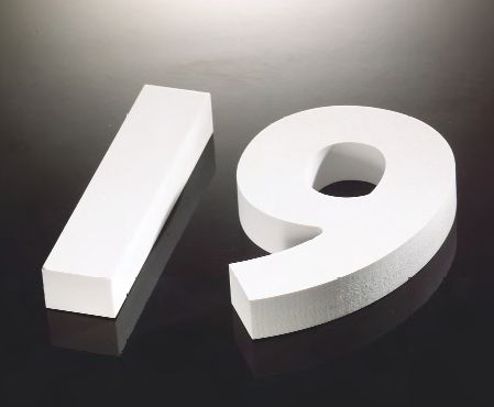 The number 19, cut out of 19mm Bright White Foamalux.