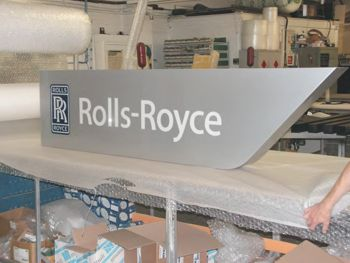 Illuminated Rolls Royce sign fabricated in aluminium.