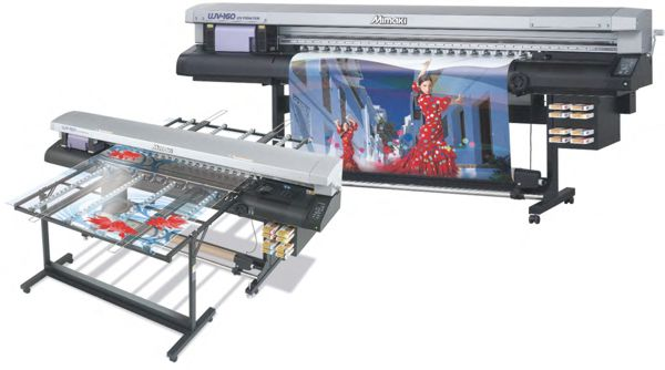 Mimaki UJV-160 flat bed and roll fed printers