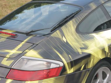The rear of the porsche 911 wrapped with Metamark MD7 and its matching MG900 laminate