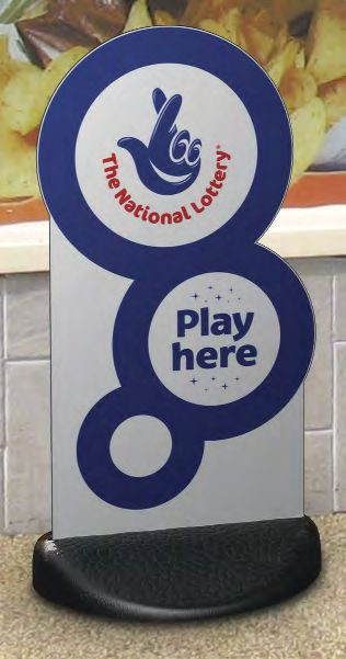 National Lottery Bubble Ecoflex pavement sign.
