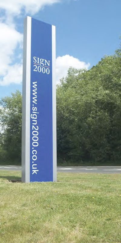 The Sign 2000 totem sign installed at the entrance to the Kent facility