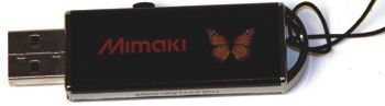USB Memory stick with the word Mimaki printed on it.