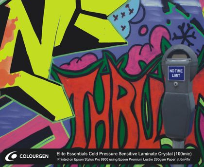 Graffiti printed on Elite Essentials Cold Pressure Sensitive Laminate Crystal (100mic)