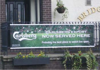 Exiflex system in use on a terrace promoting Carlsberg