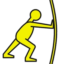 A pictogram of a yellow man pushing.