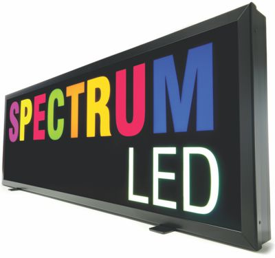 The new Perspex® Spectrum cast acrylic sheet used for a sign lit by LED.