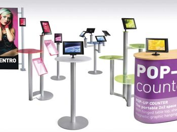Centro iPad Displays work within Eurostand Display's Centro modular system.