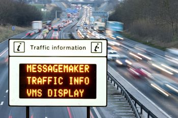 A Messagemaker LED traffic sign on the side of a motorway