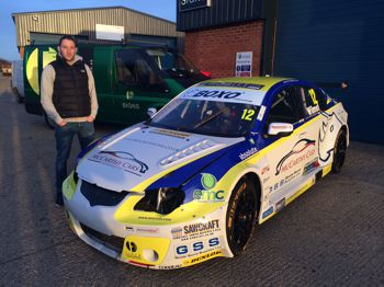 Driver Andy Wilmot with his wrapped car.